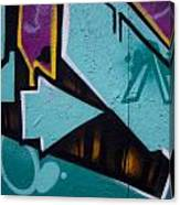 Blue Graffiti Arrow Square Canvas Print