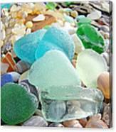 Blue Green Sea Glass Beach Coastal Seaglass Canvas Print