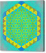 Blue Green Yellow Flower Of Life Canvas Print