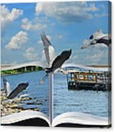 Blue Heron Storybook Canvas Print