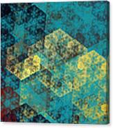Blue Hexagon Fractal Art 2 Of 3 Canvas Print