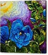 Blue Hollyhocks Canvas Print