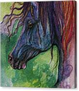 Blue Horse With Red Mane Canvas Print