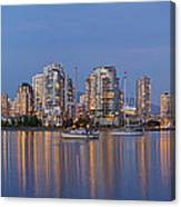 Blue Hour At False Creek Vancouver Bc Canada Canvas Print