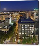 Blue Hour Moonrise II Over City Of Portland Oregon Canvas Print