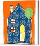 Blue House Get Well Card Canvas Print