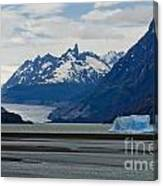 Blue Icebergs On Grey Lake In Patagonia Canvas Print