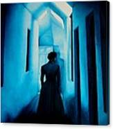 Blue Lady In The Hall Canvas Print