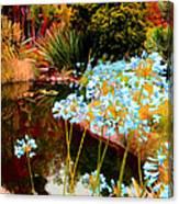 Blue Lily Water Garden Canvas Print