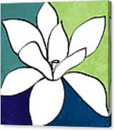 Blue Magnolia 1- Floral Art Canvas Print