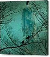 Angel And Crows In A Blue Mist Canvas Print