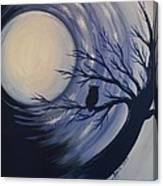Blue Moon Vortex With Owl Canvas Print