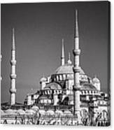 Blue Mosque Black And White Canvas Print