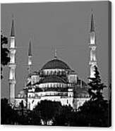 Blue Mosque In Black And White Canvas Print