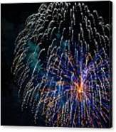 Blue Orange White Fireworks Galveston Canvas Print