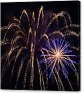 Blue Orange Yellow Fireworks Galveston Canvas Print