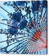 Blue Ornamental Thai Umbrella Canvas Print