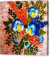 Blue Pansies Bouquet Canvas Print