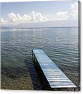Blue Pier At Lake Ohrid Canvas Print