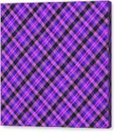 Blue Pink And Black Diagnal Plaid Cloth Background Canvas Print
