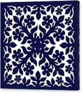 Blue Plumeria Quilt Canvas Print