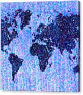 Blue Pointillist World Map Canvas Print