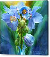 Blue Poppy Bouquet - Square Canvas Print