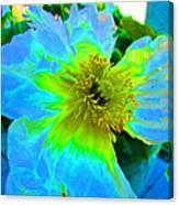 Blue Poppy Neon Canvas Print