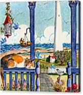 Blue Porch With Cat Canvas Print