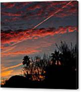 Blue Red And Gold Sunset With Streak Canvas Print