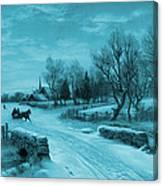 Blue Retro Vintage Rural Winter Scene Canvas Print