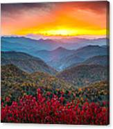 Blue Ridge Parkway Autumn Sunset Nc - Rapture Canvas Print