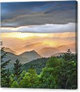 Blue Ridge Parkway Nc - Golden Rainbow Canvas Print