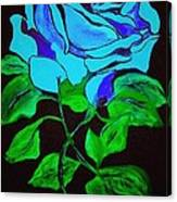 Blue Rose In The Rain Canvas Print
