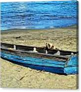 Blue Rowboat Canvas Print