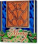 Blue Satin Merry Christmas Canvas Print