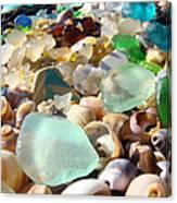 Blue Seaglass Beach Art Prints Shells Agates Canvas Print