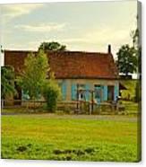 Blue Shuttered Cottage Canvas Print