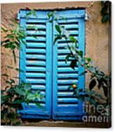 Blue Shuttered Window Canvas Print