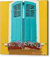 Blue Shutters And Flower Box Canvas Print