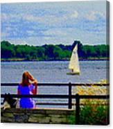 Blue Skies White Sails Drifting Blonde Girl And Collie Watch River Run Lachine Scenes Carole Spandau Canvas Print