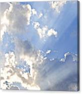 Blue Sky With Sun Rays Canvas Print