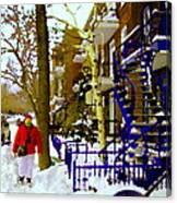 Blue Snowy Staircase And Birch Tree Montreal Winter City Scene Quebec Artist Carole Spandau Canvas Print