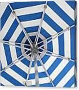 Blue Striped Umbrella Canvas Print