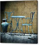 Blue Table And Chairs Canvas Print
