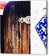 Blue Tile Brown Door 1 Canvas Print
