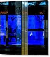 Blue Tram Windows Canvas Print