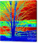 Blue Tree On Red And Green Background Canvas Print