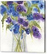 Blue Violet Flower Vase Canvas Print