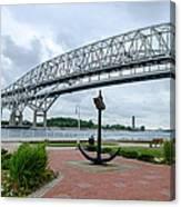 Blue Water Bridge Anchor Canvas Print